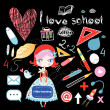 Schoolgirl and various school sites — Stock Vector
