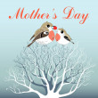 Mother's Day greeting card with birds — Stock Vector
