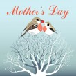 Mother's Day greeting card with birds — Stockvectorbeeld