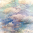 Old crumpled background with clouds — Stock Photo #30409351