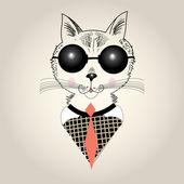 Kočka portrét bederní — Stock vektor