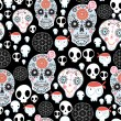 Stock Vector: Texture of funny skulls