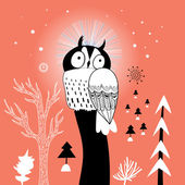 Christmas card with owl — Stok Vektör