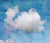 Old crumpled background with clouds — Stock Photo