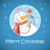 Christmas greeting card with snowman — Stock Vector
