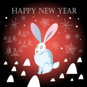 Christmas greeting card with a hare — Stock Vector
