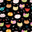 Vector de stock : Texture funny portraits of cats
