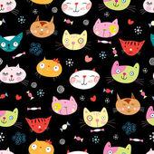 текстура смешные портреты кошек — Cтоковый вектор