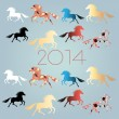 New Year's background with horses — 图库矢量图片