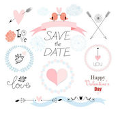 Romantic set with different elements for the holiday of love — Stock Vector