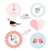 Set of emblems for Valentine's Day — Stock Vector