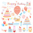 Set of vector birthday party elements — Vettoriali Stock