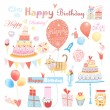Set of vector birthday party elements — Stock Vector #34758207
