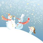 Funny snowmen — Stock Vector