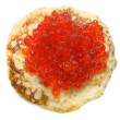 pancake with red caviar — Stock Photo