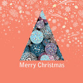 New year greeting card with a beautiful Christmas tree — Stock Vector