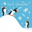 Merry christmas card with penguins — Stock Vector #36785775