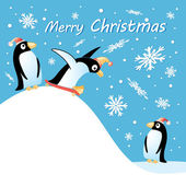 Merry christmas card with penguins — Stock Vector