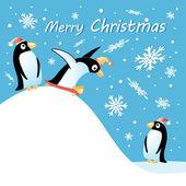 ペンギンとメリー クリスマス カード — ストックベクタ