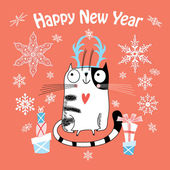 New Year card with a happy cat — Stock Vector