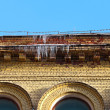 Stock Photo: Icicles on roof