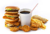 Fast food group with a drink and a burger — Stock Photo