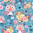 Bright pattern of the cats — Vector de stock