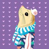 Seal portrait hipster — Stockvektor
