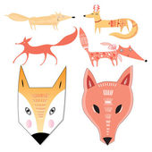 Seth different foxes — Stock Vector