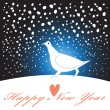 New year greeting card with a white bird — Stock Vector #43736141