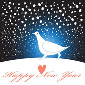 New year greeting card with a white bird — Stock Vector