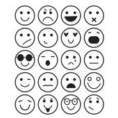 Smilies icons: different emotions — Stock Vector