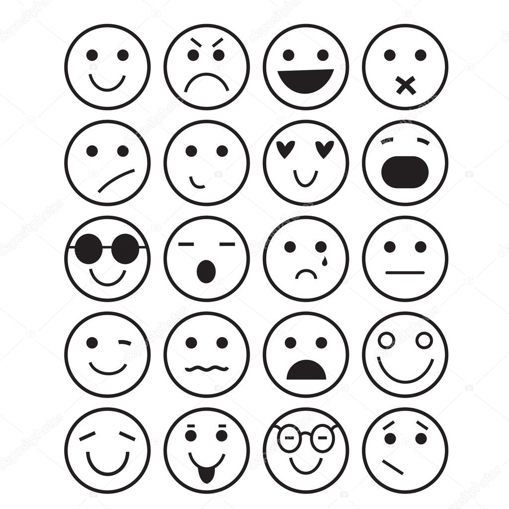 Ic nes smileys diff rentes motions image vectorielle 44110163 - Smiley simple noir et blanc ...