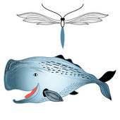 Whale and butterfly  — Vector de stock