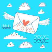 Greeting the envelope with love — Stock Vector