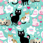 Pattern lovers cats  — Vector de stock