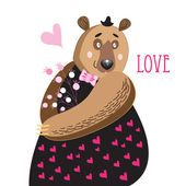 Bear in love  — Stock Vector