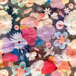 Floral pattern with birds — Stock Photo