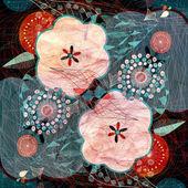 Fond aquarelle avec fleurs — Photo