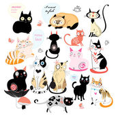 Cheerful set of cats  — Stock Vector