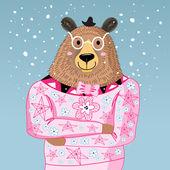 Big bear hipster  — Stock Vector