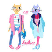Fashion funny cats  — Stock Vector