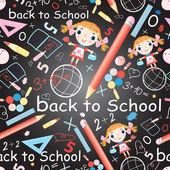 Pattern of school subjects and girls  — Stockvektor