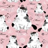 Patroon met katten — Stockvector