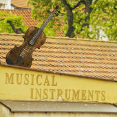Old musical instruments store in Prague — Stock Photo