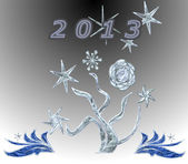 Abstract background with a tree, snowflakes and inscription 2013 — Stock Photo