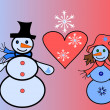 Royalty-Free Stock Photo: Falling in love snow men with a heart and snowflakes