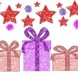 Stock Photo: Festive background with gifts, stars and banger