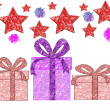 Festive background with gifts, stars and banger — Stock Photo