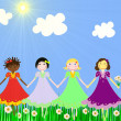 Girls of different races on green meadow — Stock Photo #15827969